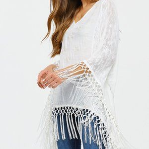 Embroidered knit contrast long sleeve fringe top